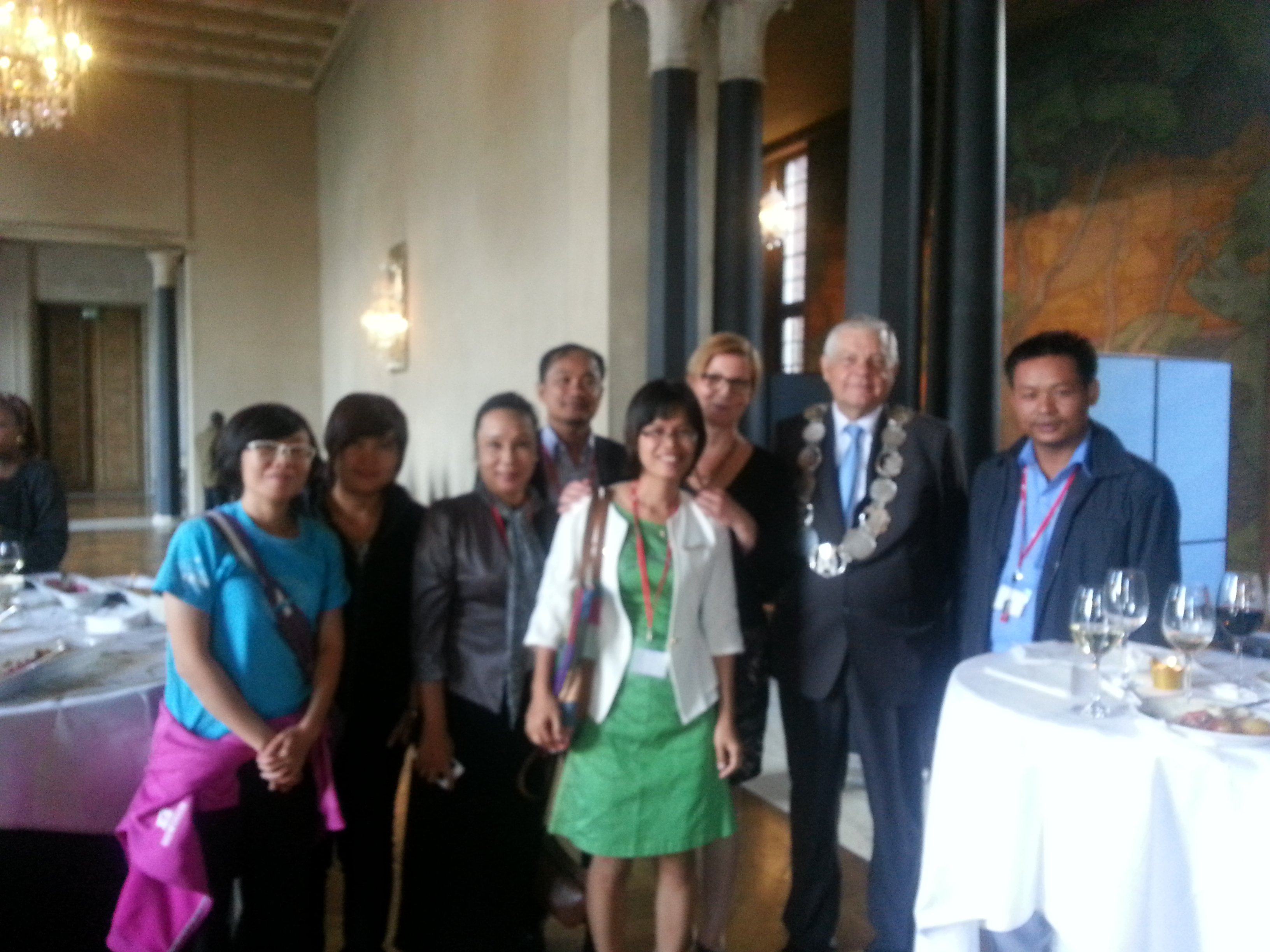 Cambodian delegates were greeting by the Deputy Governor of Stockholm's City Hall (Photo by the Author)